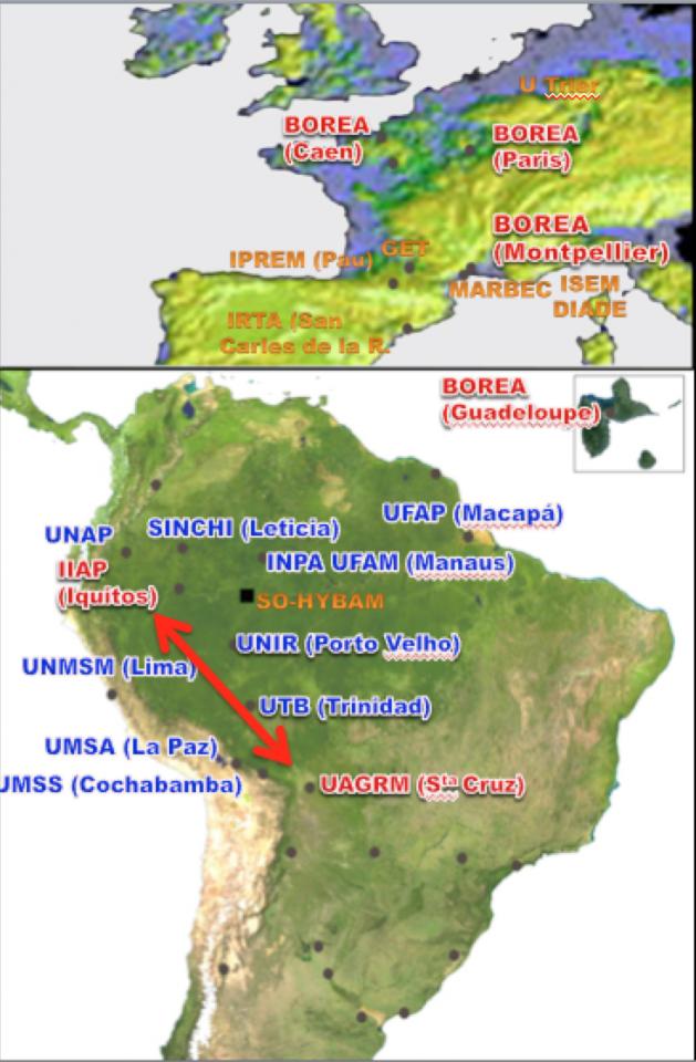 Carte : en rouge, les trois institutions (IIAP, UAGRM, BOREA) partenaires du LMI EDIA dans sa seconde phase (2016- 2020) ; en bleu, principaux collaborateurs externes au LMI membres du réseau RIIA et en orange autres collaborations essentielles.