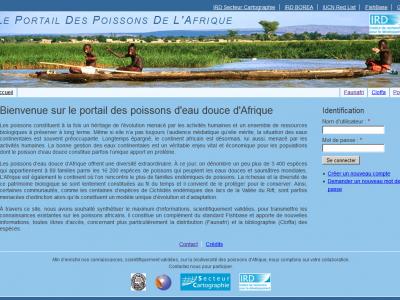 Page d'accueil du Portail des Poissons de l'Afrique