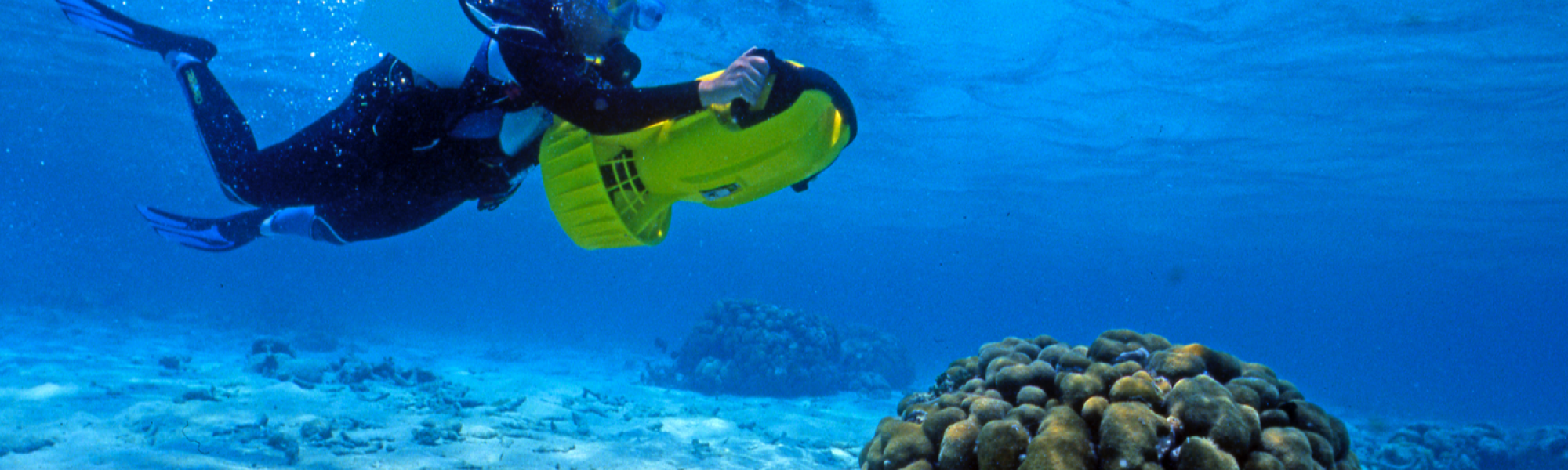 Exploration des fonds à l'aide d'un «scooter» sous-marin (Grand Cul-Sac-Marin, Guadeloupe).